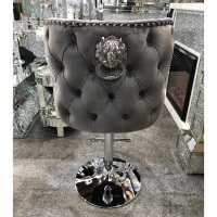 Valentino Lion Knocker Back Stool Quilted Stitch seat and Buttoned Back Design in Grey with Chrome Leg