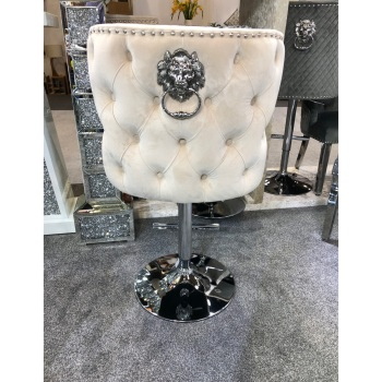 Valentino Lion Knocker Back Stool Quilted Stitch seat and Buttoned Back Design in Cream with Chrome Leg