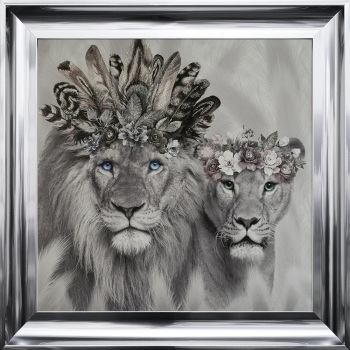 # Lion King  & Queen in a Choice of Frame colours & 4 size options