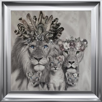 # Lion King, Queen & 3 Cubs in a Choice of Frame colours & 4 size options