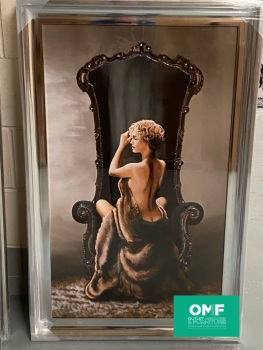 Glamour Lady Classic 2 Wall  Art in a chrome scoop frame  114cm x 74cm
