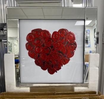 """Mirror framed art print """"Red Rose Heart"""" in stock"""