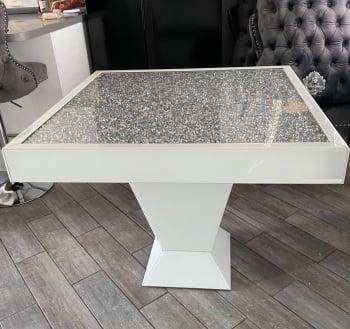 * Elegance Diamond Crush Sparkle Mirrored White Square Dining Table SPECIAL OFFER