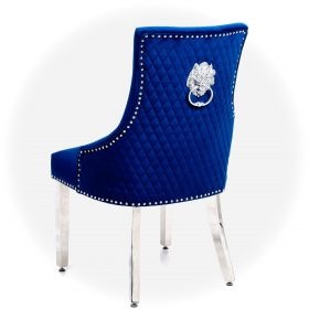 Majestic Lion Back Dining Chair Quilted Stitch Back Design in Royal Navy Blue  with Chrome Leg