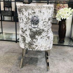 Lion Back Dining Chair in Silver Grey Crush Velvet