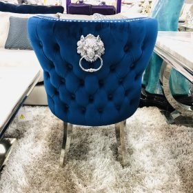 Valentino Lion Knocker Back Dining Chair Quilted Stitch seat and Buttoned Back Design in Royal Navy Blue  with Chrome Leg