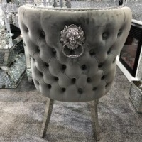 Valentino Lion Knocker Back Dining Chair Quilted Stitch seat and Buttoned Back Design in Grey with Chrome Leg