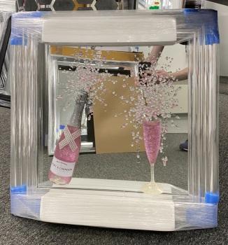** 3d Moet Pink Champagne Glitter Art Chrome stepped Frame ** 65cm  x 65cm