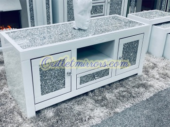 * Diamond Crush Top and Doors Sparkle Mirrored TV Entertainment Unit 120cm in White
