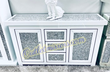 *Diamond Crush Sparkle Crystal Mirrored 3 draw 2 Door Sideboard in white with crystal handles