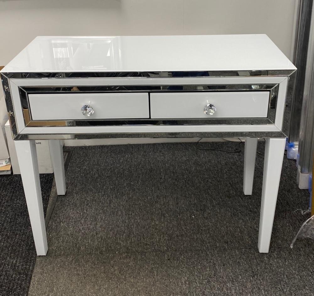 Atlanta White Mirrored 2 Draw Console Table