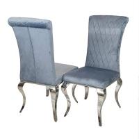 Plush Grey Dining Chair with silver chrome leg