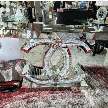 * Diamond Crush crystal Sparkle Large LED  Console Table stock due late OCTOBER