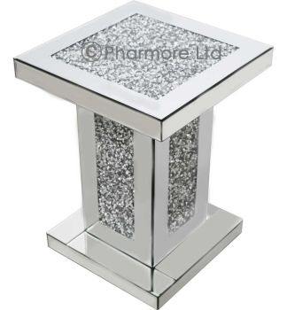 Diamond Crush Sparkle  Mirrored Lamp Table