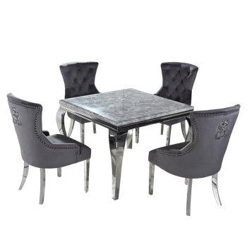 Marble Dining Table in light Grey 90cm x 90cm