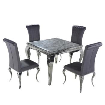Marble Dining Table in Dark Grey 90cm x 90cm