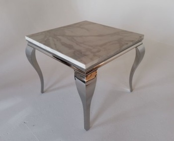 Marble Dining Table in ivory smoked 90cm x 90cm