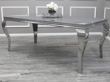 Glass top Rectangular Dining Table in Grey  1.6m