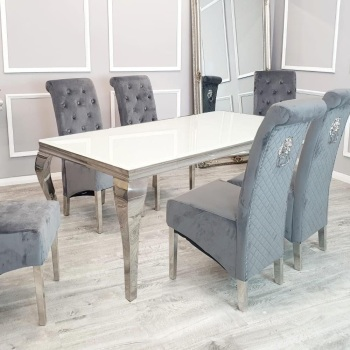Glass top Rectangular Dining Table in white  1.8m
