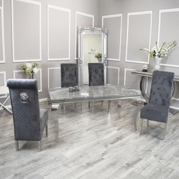 Marble Rectangular Dining Table in light Grey   1.6m with 4 Lion Knocker Grey Chairs
