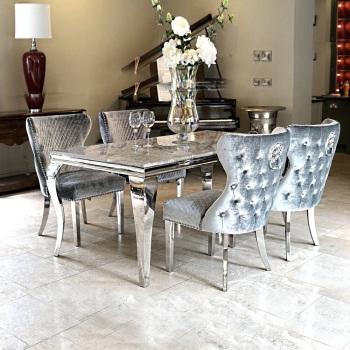 Marble Rectangular Dining Table in light Grey   1.6m with 4 Lion Knocker Grey Button Back Chairs