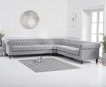 Lauren Velvet Chesterfield Corner Group Sofa in light Grey