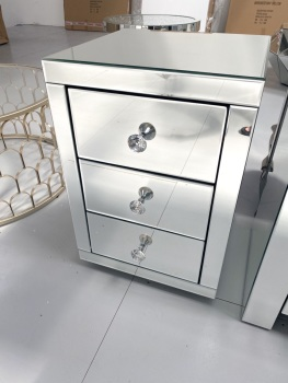 * Monica Venetian Mirrored  3 Draw Bedside Chest - in Stock