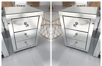 * Monica Venetian Mirrored Pair of  3 Draw Bedside Chests - in Stock