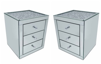 * Monica Diamond Crush Mirrored Pair of  3 Draw Bedside Chest with a Diamond crush Top - Stock due 23/10/21