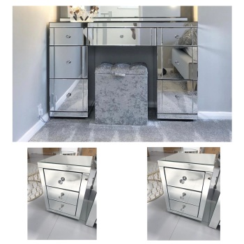 * Monica package Deal Venetian  Mirrored 7 Draw Dressing Table  & 2 bedside chest of draws in  stock