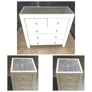 * Monica Diamond Crush Mirrored White 5 Draw Large Chest & 2 Bedside chests  with a Diamond crush Top - 26/10/21
