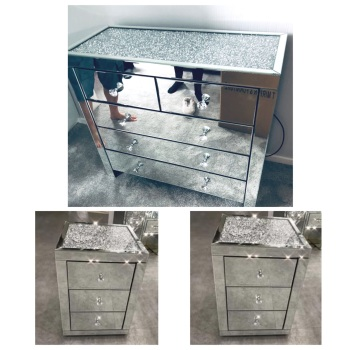 * Monica Diamond Crush Mirrored  5 Draw Large Chest & 2 Bedside chests  with a Diamond crush Top - STOCK DUE  30/10/21