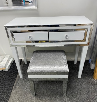 *Atlanta White Mirrored 2 Draw Dressing Table with Stool - in Stock