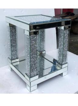 *Diamond Crush Crystal Pillar  End Table / Lamp Table item in stock
