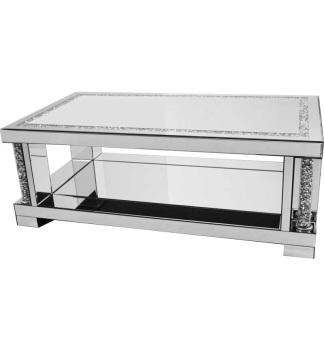 * New Diamond Crush Sparkle Crystal Pillar columns Mirrored Rectangular Coffee Table