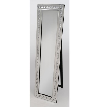 Crystal Mosaic Silver Bevelled Cheval Mirror 150cm x 40cm