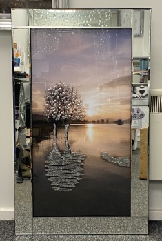 """Mirror framed """"Glitter tree reflection on the Lake """" Wall Art  in stock"""