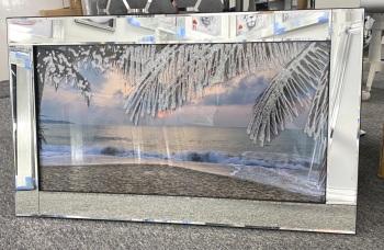 "Mirror framed ""Sparkle Sunset Beach"" Wall Art In stock"