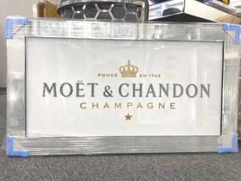 ** Moet Champagne Glitter Art in a Mirrored Frame ** 114cm x 64cm  item in stock