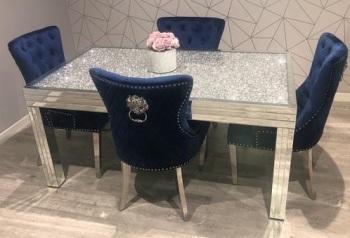 * Diamond Crush Sparkle Mirrored Dining Table 160cm x 90cm