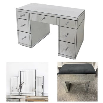 * Monica Venetian Mirrored 7 Draw Dressing Table  WIth Tri Fold Mirror & Stool- In Stock