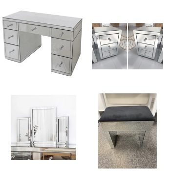 * Monica Venetian Mirrored 7 Draw Dressing Table  WITH 2 bedside chests, Tri Fold Mirror & Stool- in Stock
