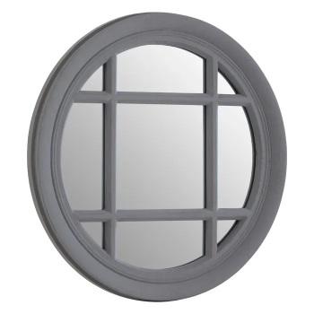 Round Grey Window Mirror 50cm x 50cm