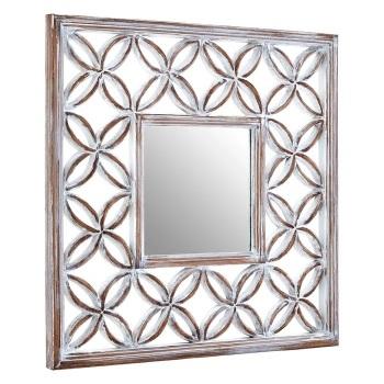 Lattice Window Mirror in distressed WhIte  88cm x 88cm