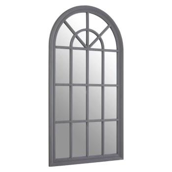 Flat Wood Curved Window Grey Wall Mirror 130cm x 70cm