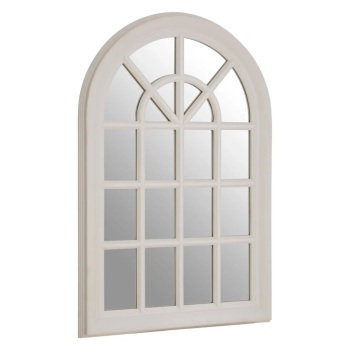 Flat Wood Curved Window WhIte Wall Mirror 87cm high x 58cm wide x 4cm