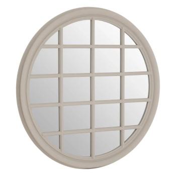 Round light Grey painted Window Mirror 90cm x 90cm