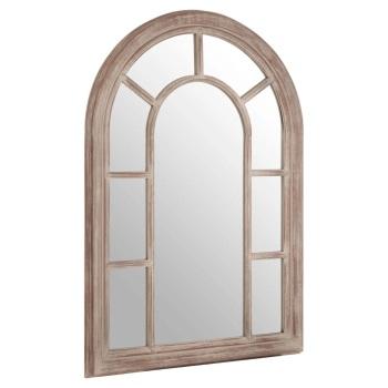 Light Oak Curved Window  Wall Mirror 104cm high  x 74cm wide x 4cm deep