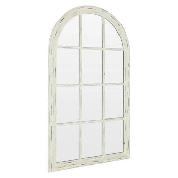 Curved Distressed White  Window  Wall Mirror 136cm x 80cm
