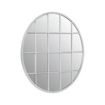 Round Metallic Steel Silver  Window Mirror 91cm x 91cm